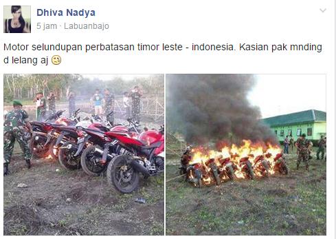 motor dibakar tni